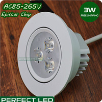 20PCS/lot Free shipping DHL White 3W LED ceiling light  Epistar Warm /Cool White LED lamp home lighting spotlight bulb 110V220V
