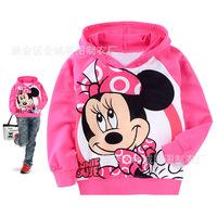 Children's clothing female child knitted MINNIE cartoon 100% cotton with a hood sweatshirt t-shirt