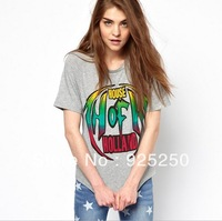 top for women summer fashion 2013 cotton cute letters print short sleeve rock t shirt grey color  plus size free shipping T169
