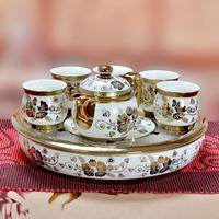 Jingdezhen ceramic big pallet double layer tea pot cup gold kung fu tea