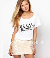top for women summer fashion 2013 cotton cute letters print short sleeve t shirt white color  plus size free shipping