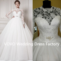 2014 Retro Classical New Arrival Royal Luxury Lace Wedding Gown Ball Gown Full Sleeve Lace Applique Beaded White Wedding Dress