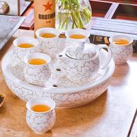 Tea set - double layer ceramic kung fu tea teaberries belt