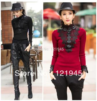 Женская одежда осень зима меховой воротник лоскутное кружево украшения свитер основной ...