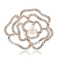 1pcs Free Shipping,Top quality Alloy Luxury Crystal Pearl Hollow Rose Brooch Women Dress Corsage Jewelry