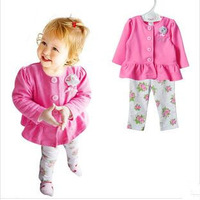 2014 new girls baby clothes suit  Cotton Terry high quality children's wear retail jacket + pants set rose garden leisure style