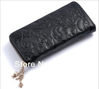Morning glory pattern color With zipper TOP genuine leather wallet women 2013,Clutch organizer for wallets women long wallets