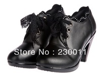 high-heeled Heel Height:6cm,8cm boots for ur choise thick velvet boots lace lace-up career shoes middle mouse cowhide boots