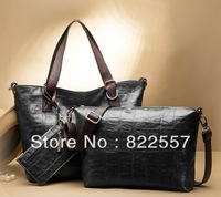 2013  brand  Genuine leather  women's crossbody Shoulder bag messenger bag three pcs First layer leather crocodile free shipping