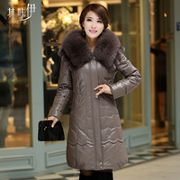 Genuine leather down coat long women's 2013 winter design slim with a hood fox fur sheepskin clothes