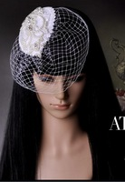 Heavy beaded lace bridal veil headdress wedding large grid of small cocktail hat in Europe and America