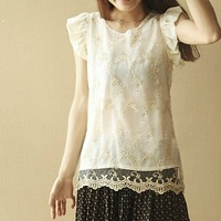 Dumbo the original single sleeve lace flounced chiffon beige embroidered cheap shirt,free shipping,high quality,cheap price