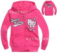 Children's clothing 100% cotton with a hood sweatshirt zipper long-sleeve outerwear jacket