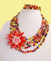 WWEL889free shopping!!!Handmade flower necklace set series