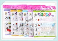 Free Shipping To Asia!60pcs/set Educational Reusable Simple Chinese/Pronouciation/English/Math Magic Writing & Learning Books