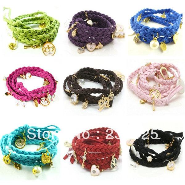 New Fashion Hemp Heart Shell Leather weave Braided Bracelet Wristband Charms Women Hot Sale Free Shipping(China (Mainland))