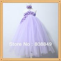 lavendar flower tutu dress princess beautiful long dresses 2layer children toddler kids birthday party dress girls dresses