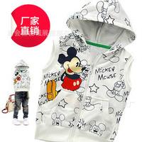 Children's clothing 100% cartoon cotton vest white with a hood vest