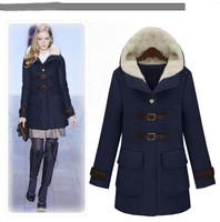 2012 new cotton cap woolen winter coat collar woolen coat handsome leather buckle retro woolen woolen coat
