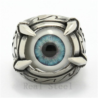 New Christmas Ring Wholesale Hot Mens Boy 316L Stainless Steel Eagle Dragon Claw Tribal Totem Light Blue Eyeball Ring New Design