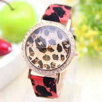 7 colors GoGoey Watch leather strap leopard watch women rhinestone watches quartz watch 1pcs/lot