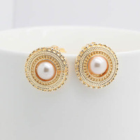 Free Shipping Fashion Earring 2013, Elegant and Noble Gold Plated Circular Pearl Clip Earrings,Wholesale High Quality Earrings