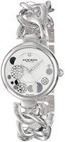 Free Shipping Akribos XXIV Women's Lady Diamond Crystal Mother-Of-Pearl Dial Silver-Tone Twist Chain Link Bracelet Watch Gift