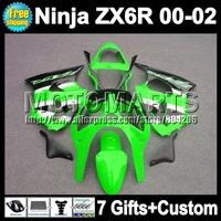 7gifts For green silver KAWASAKI NINJA ZX6R ZX-6R ZX 6R 6 R 00 01 02 Q7263 ZX636 green black ZX-636  Fairing 2000 2001 2002