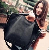2014 women's handbag vintage PU bags fashion handbag shoulder bag black big bags