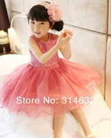 Wholesale 2014 New Arrived Girls Sequins gauze Puff Dress,children vest Skirts,Fashion princess dresses 5/lot