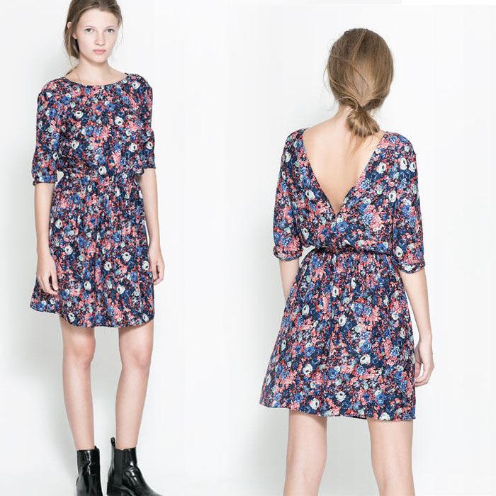 2014 summer new women's round neck short sleeve dress waist orchids (AB65)(China (Mainland))