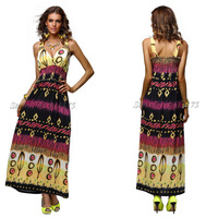 Free Shipping Fashion Maxi Beach Dress 2013 Printed Design Lady Long Casual Summer Tank Dress 4183