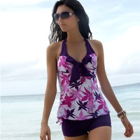 Top quality 2013 swimwear Plus size tankinis set steel split female hot spring swimsuit 2 piece beachwear free shipping