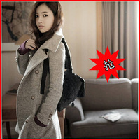 Autumn and winter medium-long double breasted slim wool woolen overcoat outerwear the trend of fashion slim women's