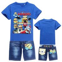 2014  Boys Suit Cotton Baby Brand Sports Sets Despicable Me 2 Minions Cartoon Clothing Sets Children/ Kids T-shirt+jeans