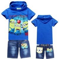 6 sets /lot 2014 Summer Short Sleeve t shirts+jeans Children Kids Clothing Despicable me Boys Girls Cothing Set Fashion Design