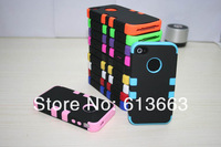 Free shipping 500pcs/lot New arrival 3 in 1 Defender Hard Silicone robot Case Cover for Apple iphone 4/4s
