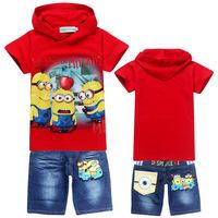 2014 Summer Boys Suit Cotton Baby Brand Sports Sets Despicable Me 2 Cartoon Clothing Sets Children/ Kids hoodies+jeans wholesale
