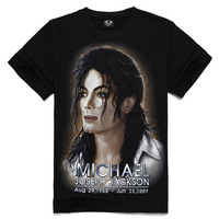Free shipping summer creative personality Men Tee short sleeve t-shirt wholesale promotional For Michael Jackson 3D t -shirt