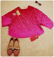New Fashion women Gorman neon powder coarse knitting twisted gradient sweater 8248