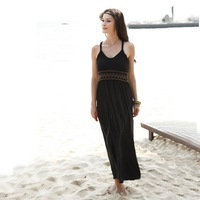 vestido strapless little black latex dress black condole belt long maxi beach dress women dresses 2014 new fashion summer