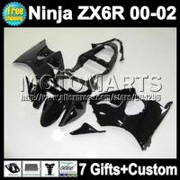 7gifts For KAWASAKI glossy black 2000 2001 2002 ZX6R NINJA  Q7126 ZX636 ZX-636 ZX-6R 00 01 all black 02 ZX 6R 636 Fairing Kit