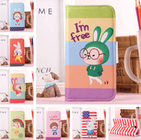 For Samsung I9500 Galaxy S4 New Cartoon Rabbit Series PU Leather Stand Case
