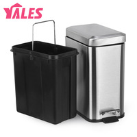 Rectangle trash bucket foot fashion household fashion stainless steel garbage bucket
