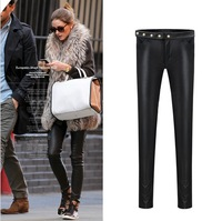 Free Shipping 2013 winter ladies' all-match fashion new PU Leather Slim plus fleece Leggings pants