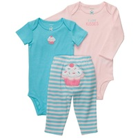 Original carters baby girls spring long sleeve clothing set carters set ice cake model lovely cute cat bodysuit and rompers