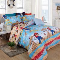 Super mario cartoon children room 4pcs 100% cotton bedding set sheet quilt pillow cover