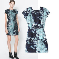 New Arrival Ladies' Fashion elegant blue floral print Dress retro short sleeve round neck office lady casual slim dress