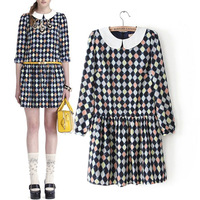 2014 Women's spring summer plaid print peter pan collar one-piece dress  skirt ladies casual dresses