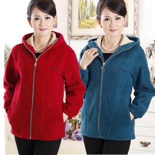 New arrival quinquagenarian women s autumn and winter mother clothing thickening fleece sweatshirt polar fleece fabric